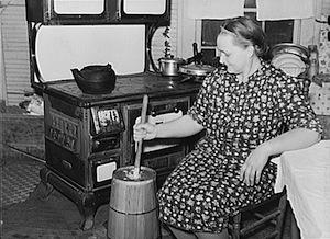 woman butter churn